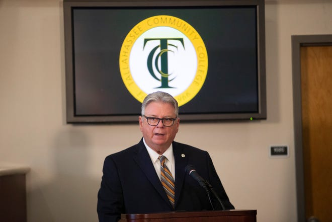 Tallahassee Community College President Jim Murdaugh speaks at a press conference held to announce that the school has been named one of 10 finalists for the 2021 Aspen Prize for Community College Excellence Tuesday, June 9, 2020.