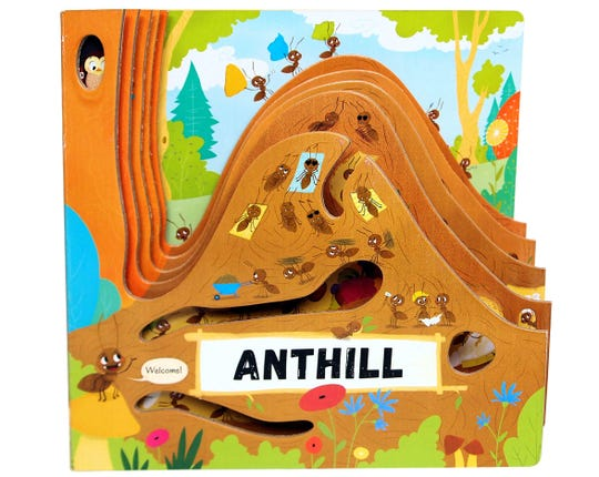 "Anthill,"" ""Beehive"" and ""Tree"" by Petra Bartikova, illustrated by Magdalena Takacova (""Anthill"" and ""Tree"") and Martin Sojdr (""Beehive"")"