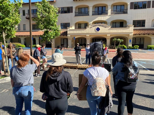 Protesters gathered outside ICE offices in Camarillo on June 8, 2020 to rally against the pending deportation of a Ventura County woman.