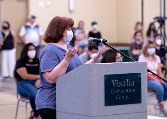 Laurie Mercer speaks Monday, June 8, 2020 during the Measure N hearing at the Visalia Convention Center. Many called for more youth programs and decreased police spending.