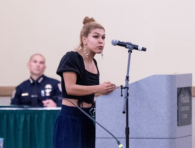Mayra Espinoza-Martinez spoke Monday, June 8, 2020 during the Measure N hearing at the Visalia Convention Center. Many called for more youth programs and decreased police spending.
