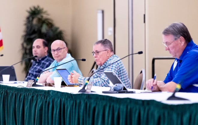Visalia City Council members take public comment Monday, June 8, 2020 during the Measure N hearing at the Visalia Convention Center. Many Visalians called for more youth programs and decreased police spending.