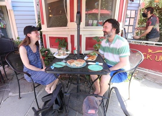 Jassica and Jeff Martin from Irvington have lunch at The Art Cafe in Nyack, on Tuesday, June 9, 2020 as the lower Hudson Valley enters Phase 2.