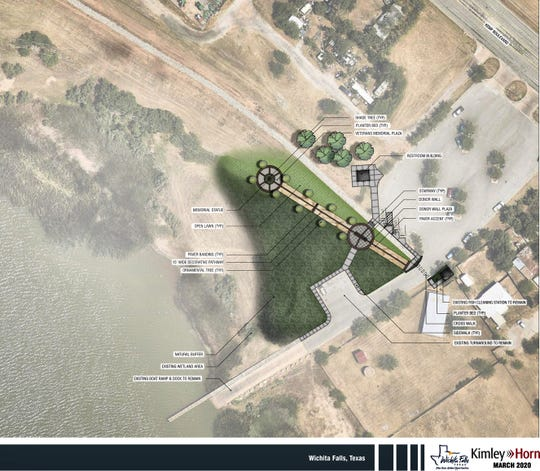 An artist rendering of the proposed Veterans Memorial Plaza project near the Kemp Blvd boat ramp at Lake Wichita.