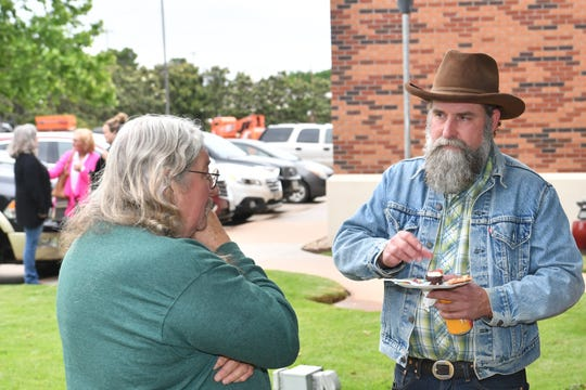 Sculptor Danville Chadbourne chatting with area sculptor B.C. Gilbert at the 2019 reception. Both artists will be in the 2020 show and attend the reception at the Sculpture Garden Artist Reception from 6:30 to 9 p.m. Saturday at the Kemp Center for the Arts. Chadbourne is from San Antonio.