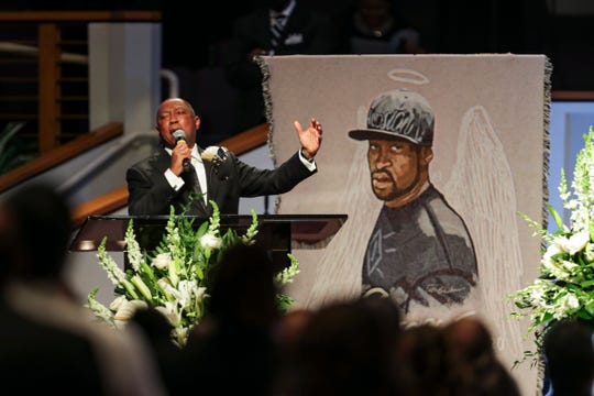 Houston Mayor Sylvester Turner speaks during the funeral for George Floyd on Tuesday, June 9, 2020, at The Fountain of Praise church in Houston.