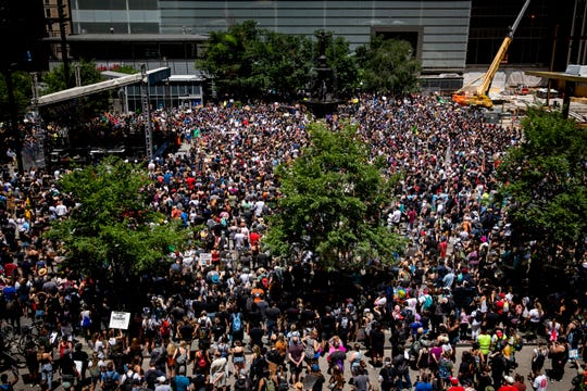 Thousands of protesters gather on Fountain Square in downtown Cincinnati on Sunday, June 7, 2020.