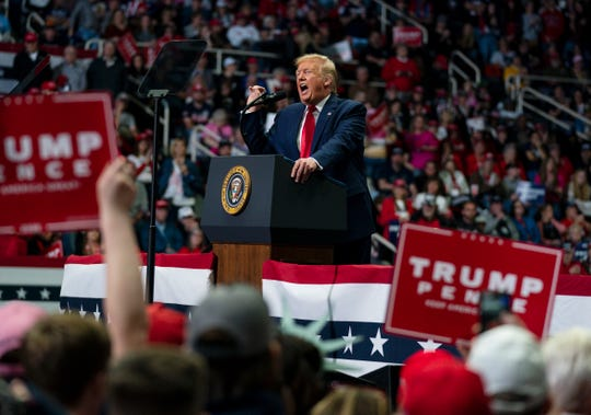 President Donald Trump at his most recent campaign rally, March 2 in Charlotte, N.C.