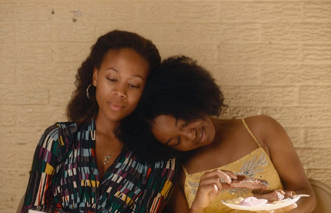 """Turquoise (Nicole Beharie, left) and Kai (Alexis Chikaeze) bond over preparing for the """"Miss Juneteenth"""" pageant."""