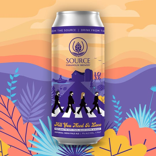 All You Need is Love, the Beatles-inspired imperial India pale ale from Source Farmhouse Brewery in Colts Neck, is the latest entry in the brewery's Artist Tribute Series.