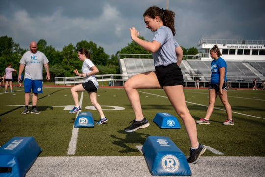Harper Creek junior Alaina DeRose runs drills on Wednesday, June 10, 2020 at Harper Creek High School in Battle Creek, Mich.