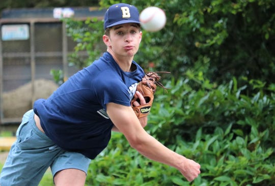 Pitcher Nathan DeSchryver throws a bullpen session on the street in front of his house in Silverdale. DeSchryver, a high school junior who attends Bainbridge, is playing in  the 2020 Perfect Game National Showcase in Alabama on June 17-21.