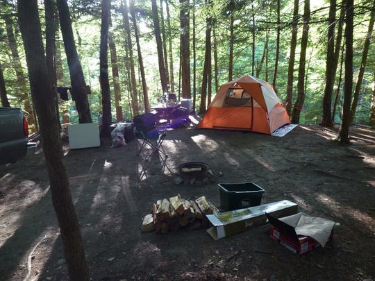 A tent site at the Green Mountain Family Campground in Bristol.