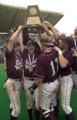 Calallen players beat Port Neches-Groves 8-6 in the Class 4A baseball state championship game to claim the school's first baseball title in 2000.