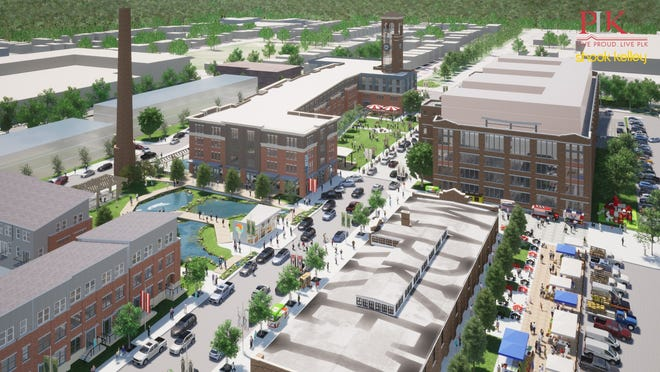 An artist's rendering of the $100 million mixed-use development planned for the former US Playing Card site in Norwood