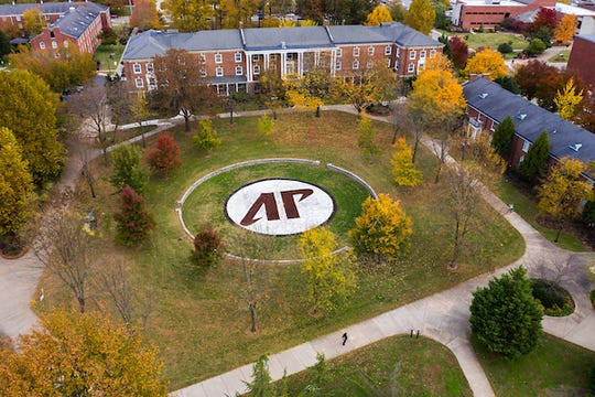 The center of Austin Peay State University's campus, seen from above.