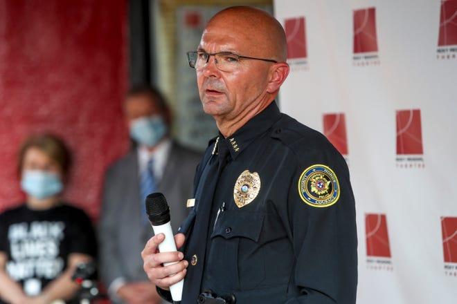 Clarksville Police Chief David Crockarell speaks to those gathered at the Roxy Regional Theater in Clarksville, Tenn., on Tuesday, June 9, 2020.