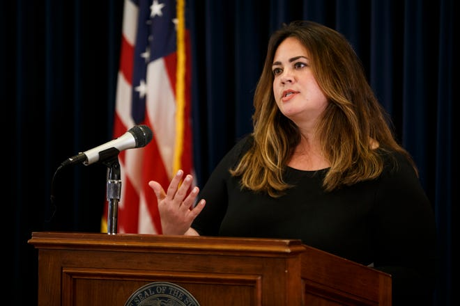 State Medical Director Dr. Caitlin Pedati speaks during the governor's daily Coronavirus press briefing at the State Capitol on Wednesday, June 10, 2020 in Des Moines.
