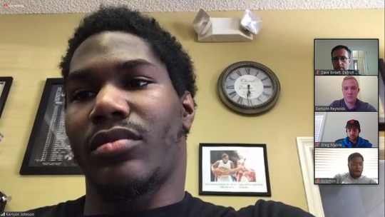 Detroit Lions running back Kerryon Johnson during a video conference Wednesday, June 10, 2020.