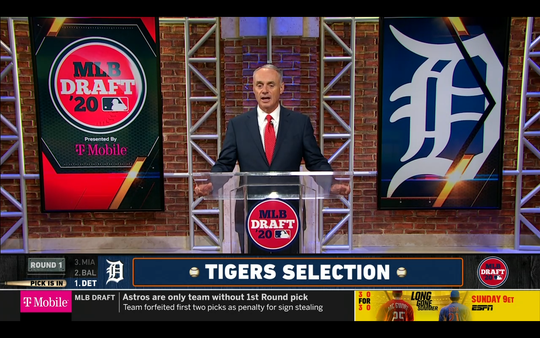 MLB commissioner Rob Manfred announced the Detroit Tigers' first-round selection, Arizona State 3B Spencer Torkelson, on Wednesday, June 10, 2020.