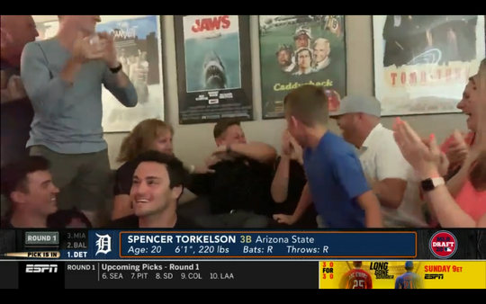 Detroit Tigers first-round draft pick Spencer Torkelson and his friends and family celebrate after the announcement of the No. 1 overall pick on Wednesday, June 10, 2020.