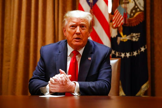 President Donald Trump speaks during a roundtable discussion in the Cabinet Room at the White House, Wednesday, June 10, 2020, in Washington.