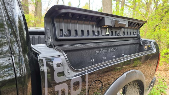 The side boxes on the 2020 Ram 2500 Power Wagon bed are great for storing tools.