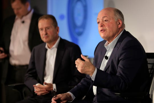 Ford CEO Jim Hackett, right, and Volkswagen CEO Herbert Diess said last summer they would invest $2.6 billion into Argo AI, which develops autonomous vehicle systems. Ford and VW took a stepforward on their development of next-generation vehicles Wednesday, when they signed off on an alliance under which the competitors will collaborate on the development of several new products.