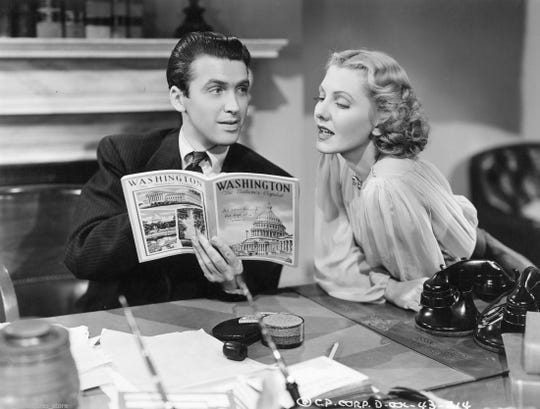 """Jimmy Stewart and Jean Arthurd in """"Mr. Smith Goes to Washington, 1939. Columbia Pictures."""