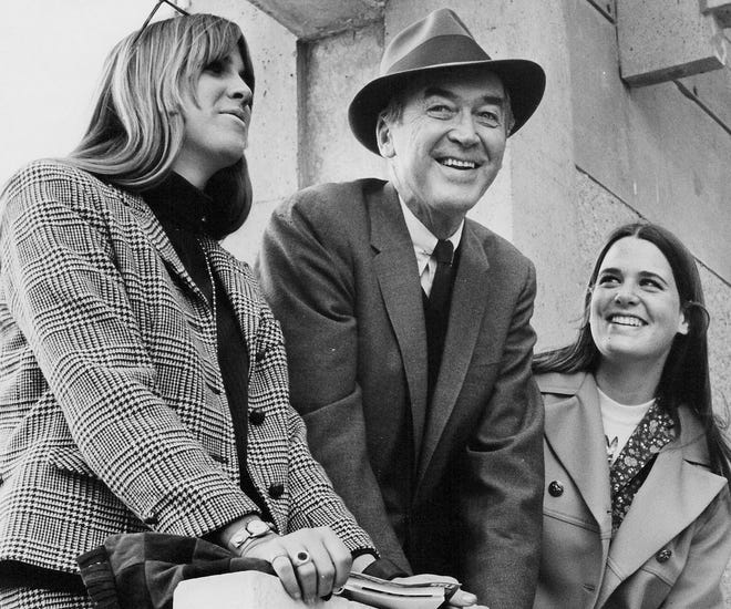 Jimmy Stewart takes high school daughters on a trip to British Columbian to look at colleges. Judy and Kelly, right.