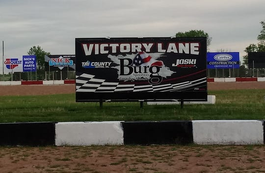 The new Victory Lane at The 'Burg Speedway in Luxemburg, one of the improvements made by the Kewuanee County Racing Association, the track's new promoter. The 'Burg will open its racing season Sunday.