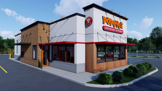 A rendering of the exterior of Popeyes new-look NOLA design.