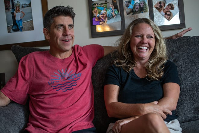 """Everyone knew but me,"" said Jeff Mills about his daughter Sadie's plan to marry Chase Smith. ""He makes her so happy and so I hugged him and said, 'Of course you have my blessing.'"" Mills, alongside wife Jessica, talk about events leading up to the wedding during an interview inside their Mooresville, Ind., home on Tuesday, June 9, 2020"