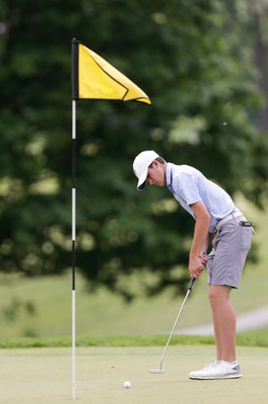 Carmel's Luke Prall putts during the Indiana boys golf team championship, Wednesday, June 10, 2020 at Purdue's Ackerman-Allen Golf Course in West Lafayette.