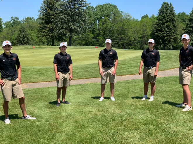 Brighton seniors (from left) Nik Kowalenko, Grant Van Kannel, Griffin White, Colin Bishop and Logan Smith played together as teammates one last time in a tournament in Battle Creek on Saturday, June 6, 2020.