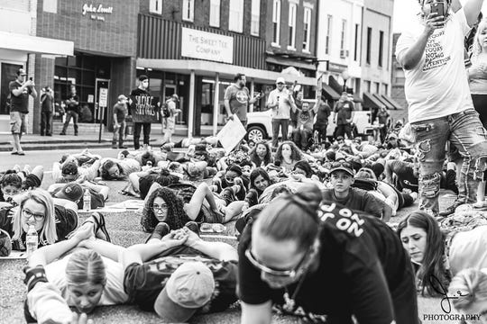 Protesters in Marshall County Kentucky demonstrate against police violence and racism.