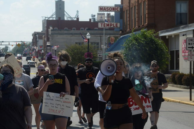 Jordyn Sims, organizer of a protest in Ontario on June 5, led another protest in Shelby Wednesday as the crowd marched toward the intersection of Ohio 39 and East Main Street.