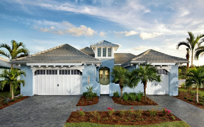 """The Plumeria II single-family home at The Isles of Collier Preserve features a guest """"casita"""" with its own private entrance and garage."""