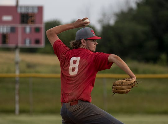 River View's Trace Davis of Utica Post 92 Juniors pitches against visiting Big Katz on Tuesday.