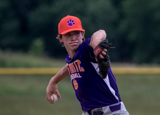 Watkins Memorial's Nate Younker, of Big Katz, pitches against host Utica Post 92 Juniors on Tuesday.