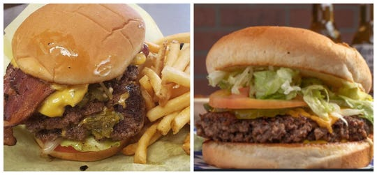 Green chile cheese burgers from Mama B's,887 N. Main St. (left), and Dick's Cafe,2305 S. Valley Dr. (right).