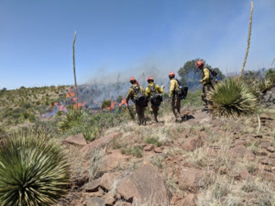 Firefighters work to control the blaze over the rough terrain of the Sierra de las Uvas fire Tuesday, June 9, 2020.