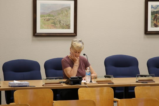 Ward 3 Carlsbad City Councilor Judith Waters looks over the agenda during the June 9, 2020 Carlsbad City Council meeting.