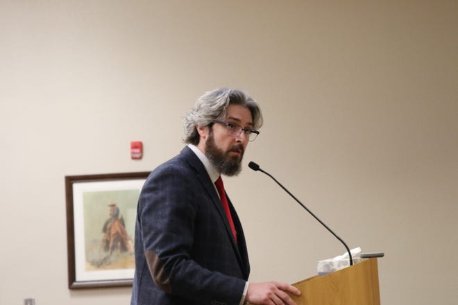 Jeff Patterson, City of Carlsbad planning director, addresses Ward 2 Carlsbad City Councilor JJ Chavez during the June 9, 2020 Carlsbad City Council meeting.