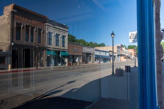 Reflections in shop windows on Bridge Street in Las Vegas.