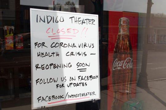A sign announces the closure of the Indigo Theater on Bridge Street in Las Vegas.