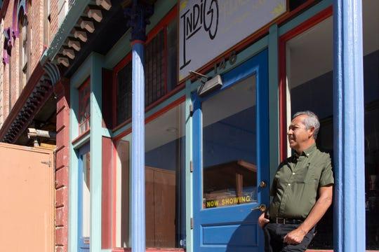Elmo Baca at the entrance  of the Indigo Theater.
