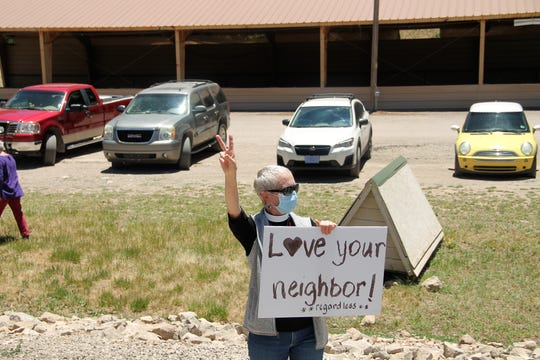 Deacon Nancy Igo at the Cloudcroft Black Lives Matter protest June 9, 2020.  A crowd of about 70 protesters turned out at Zenith Park in Cloudcroft Tuesday for a Black Lives Matter protest.