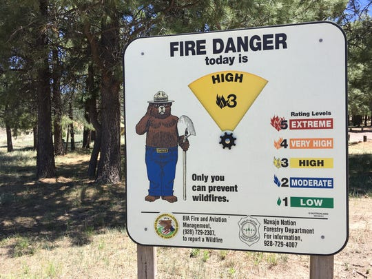 The fire danger level for the Navajo Nation was posted on June 8 on a sign at the Narbona Pass Picnic Area on Ch'ooshgai Mountain.