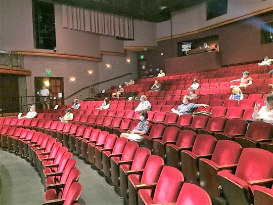 Board of Trustees meeting attendees were social-distanced Tuesday night.